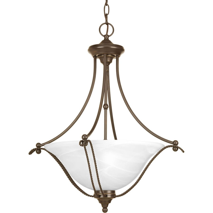 Progress Lighting Avalon 22-in 3-Light Antique Bronze Alabaster Glass Shaded Chandelier