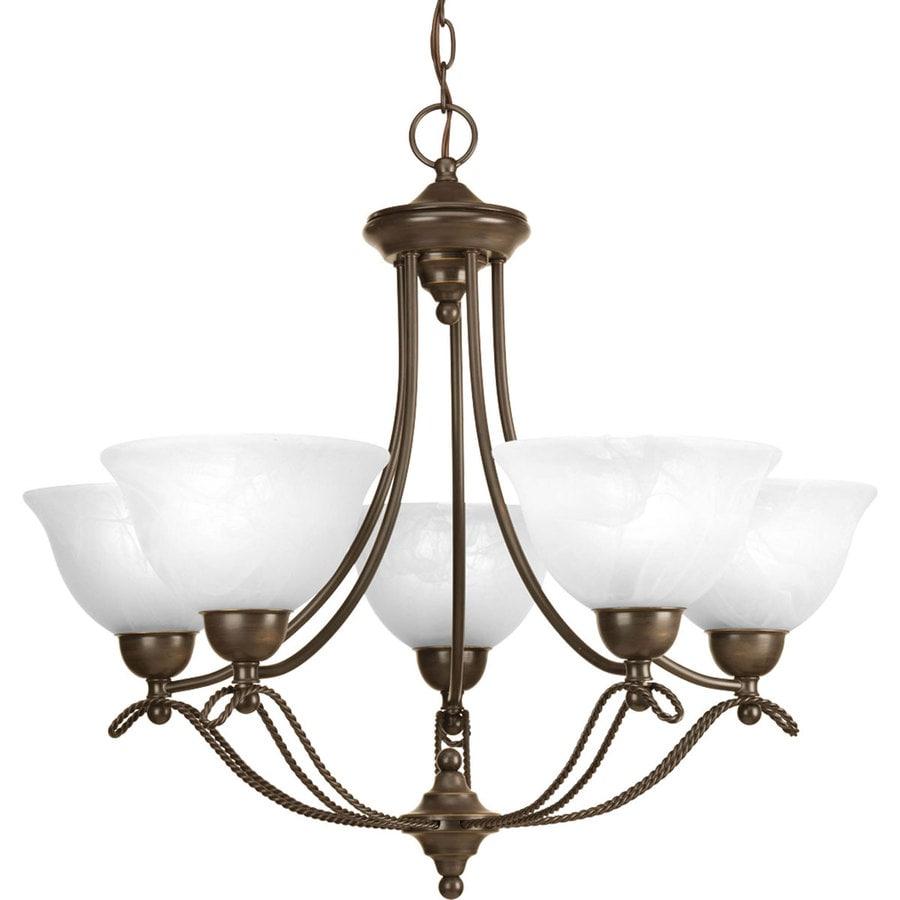 Progress Lighting Avalon 26.5-in 5-Light Antique Bronze Alabaster Glass Shaded Chandelier