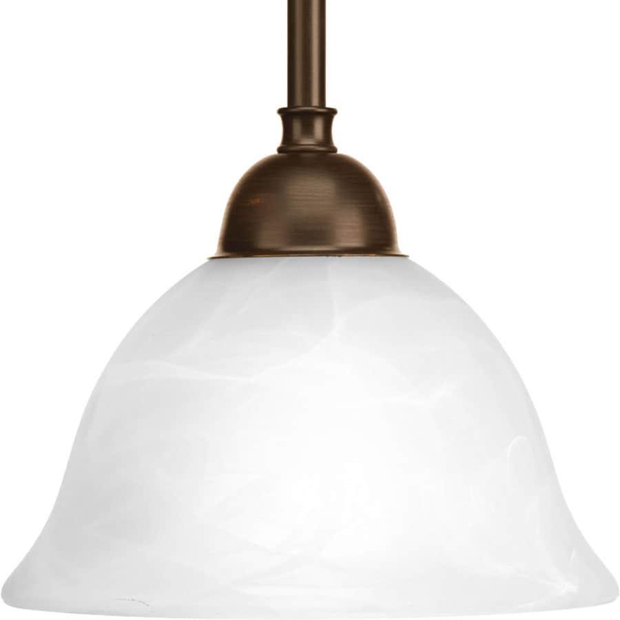 Progress Lighting Avalon 7.75-in Antique Bronze Mini Alabaster Glass Bell Pendant