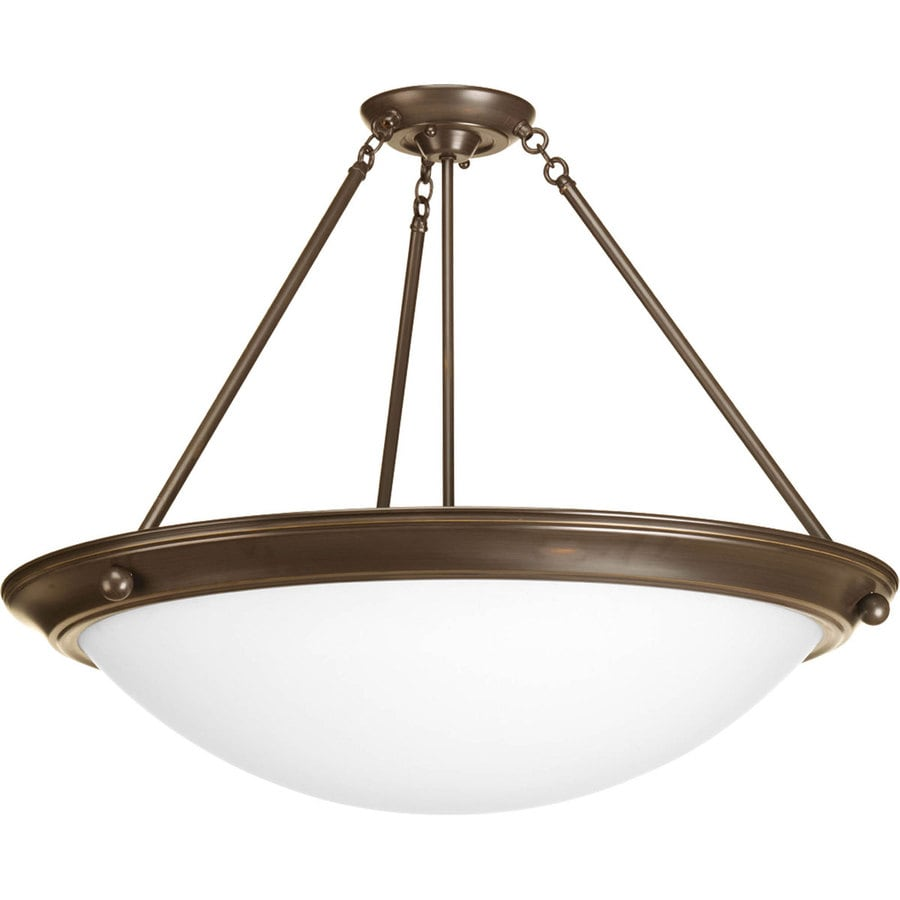 Progress Lighting Eclipse 27.37-in W Antique Bronze Frosted Glass Semi-Flush Mount Light