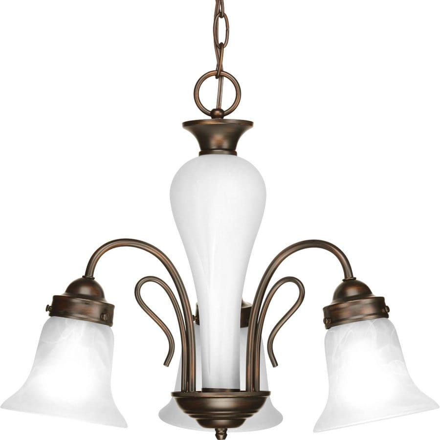 Progress Lighting Bedford 19.5-in 3-Light Antique Bronze Alabaster Glass Shaded Chandelier