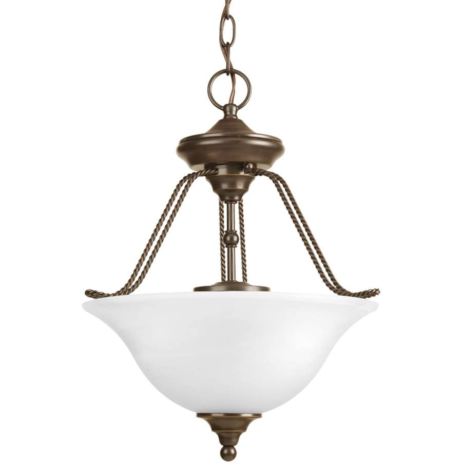 Progress Lighting Avalon 13.12-in W Antique Bronze Frosted Glass Semi-Flush Mount Light
