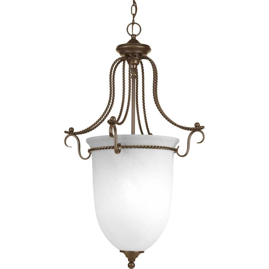 Progress Lighting Avalon 21-in 3-Light Antique bronze Alabaster Glass Shaded Chandelier