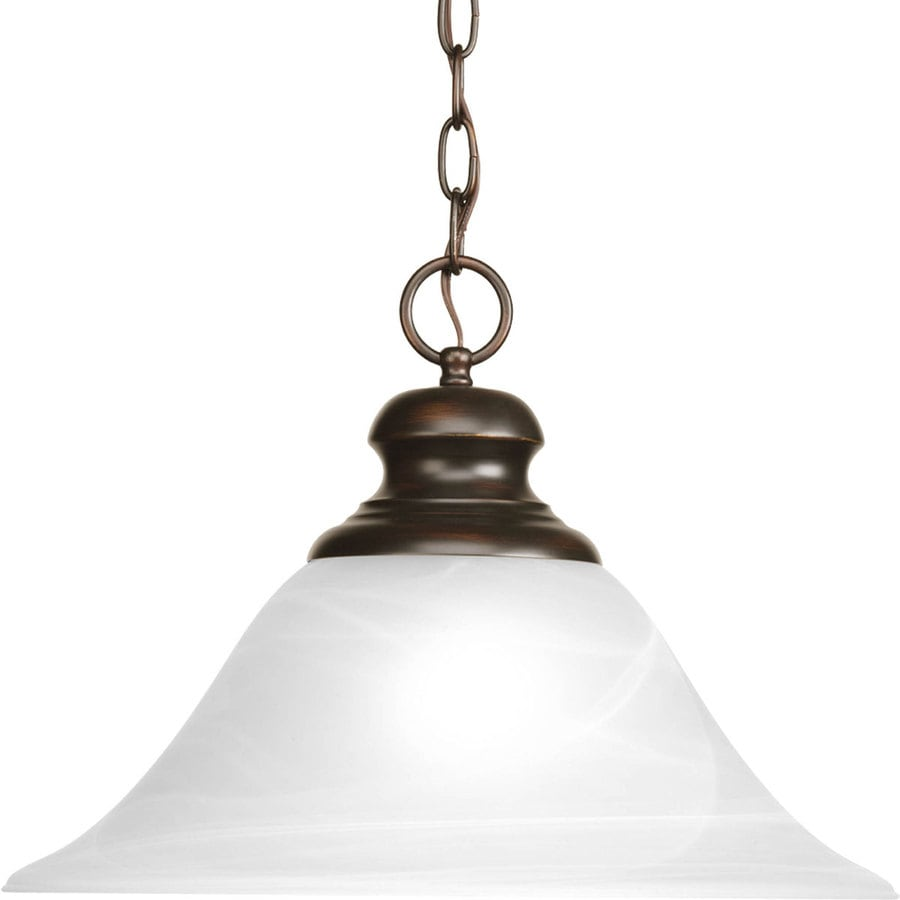 Progress Lighting Bedford 15.62-in Antique Bronze Single Alabaster Glass Bell Pendant