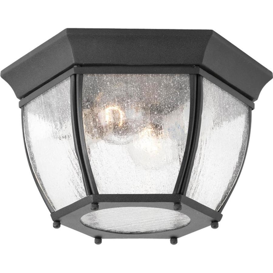 Progress Lighting Roman Coach 11-in W Black Outdoor Flush-Mount Light