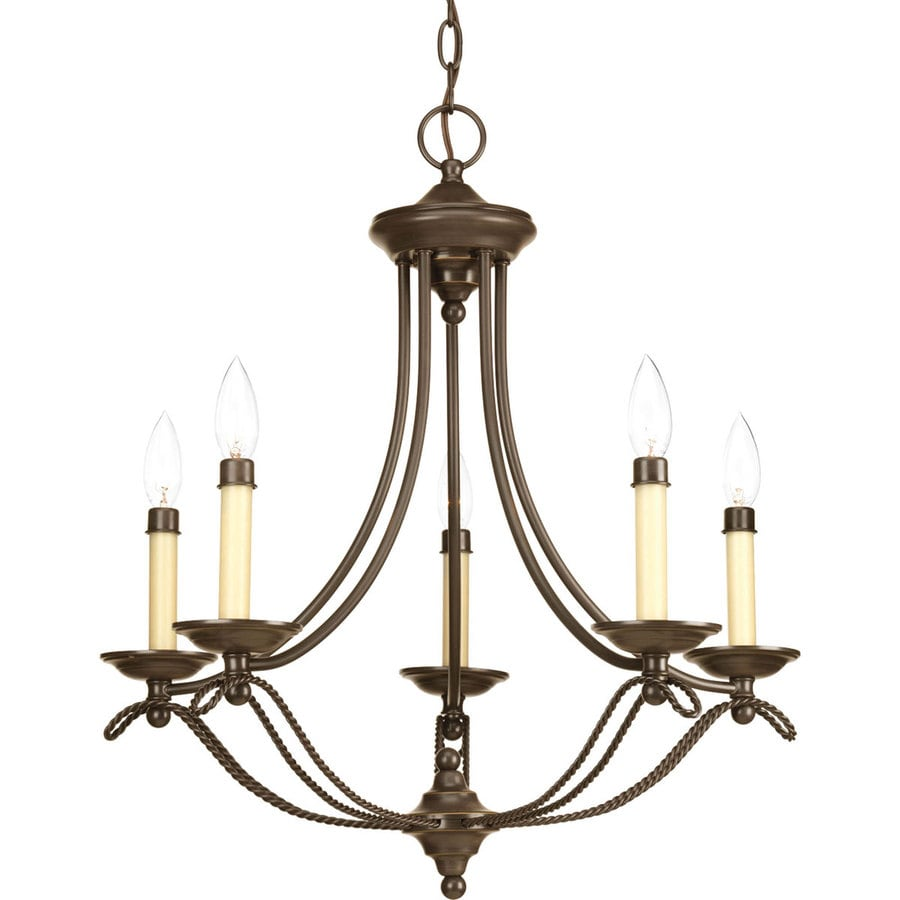 Progress Lighting Avalon 26.5-in 5-Light Antique Bronze Shaded Chandelier