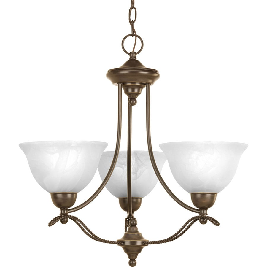 Progress Lighting Avalon 21.875-in 3-Light Antique Bronze Alabaster Glass Shaded Chandelier