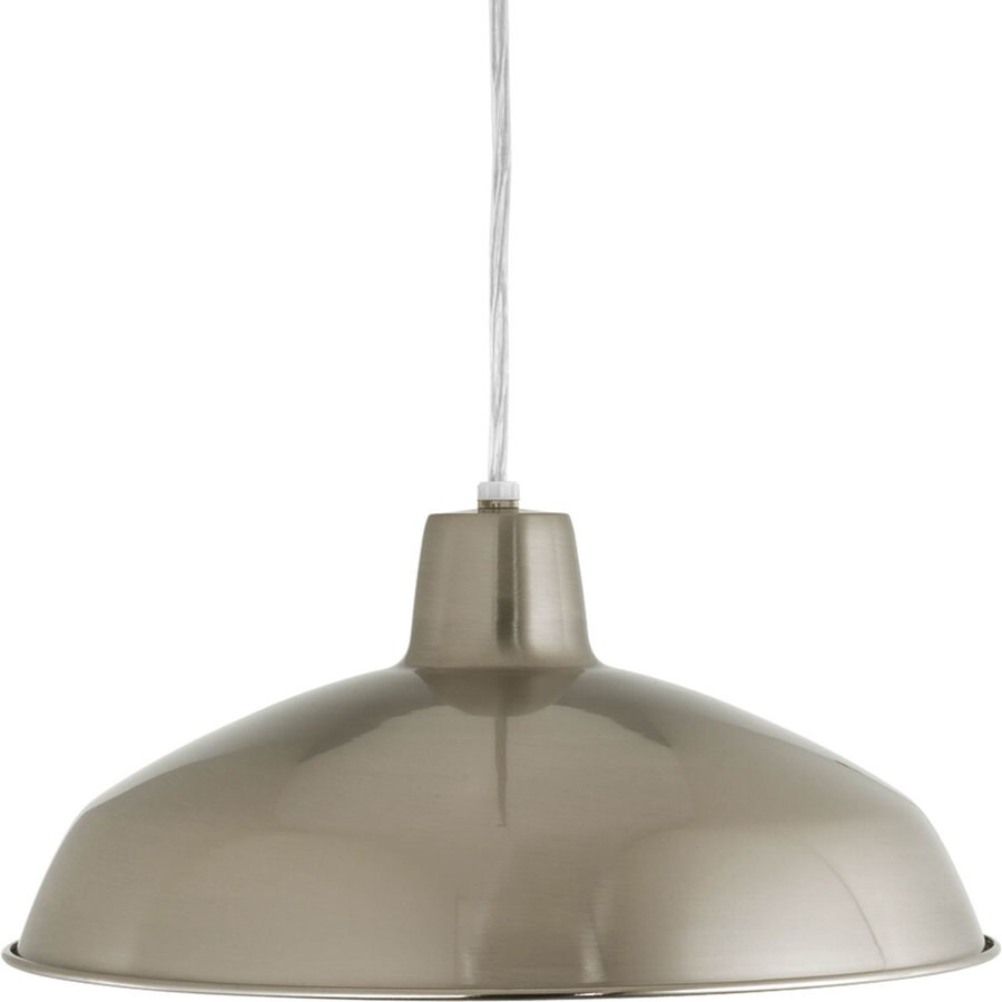Progress Lighting 16-in Brushed Nickel Mini Textured Glass Bell Pendant