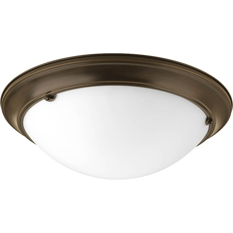 Progress Lighting Eclipse 19.37-in W Antique Bronze Frosted Glass Semi-Flush Mount Light