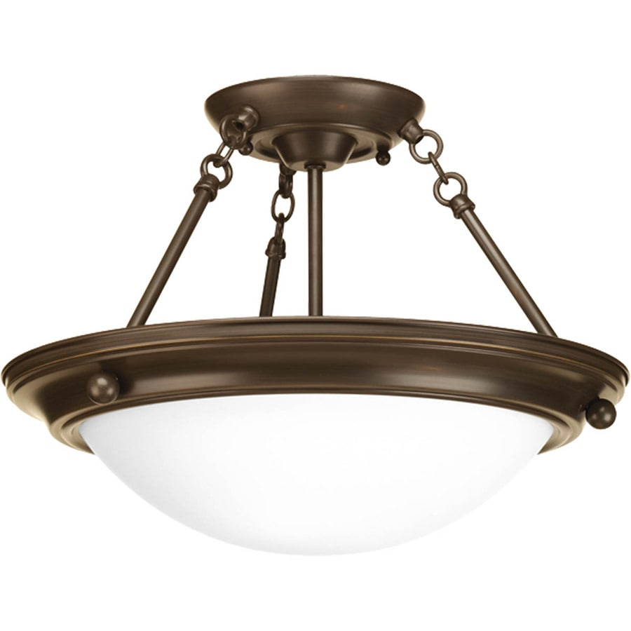 Progress Lighting Eclipse 15.25-in W Antique Bronze Frosted Glass Semi-Flush Mount Light