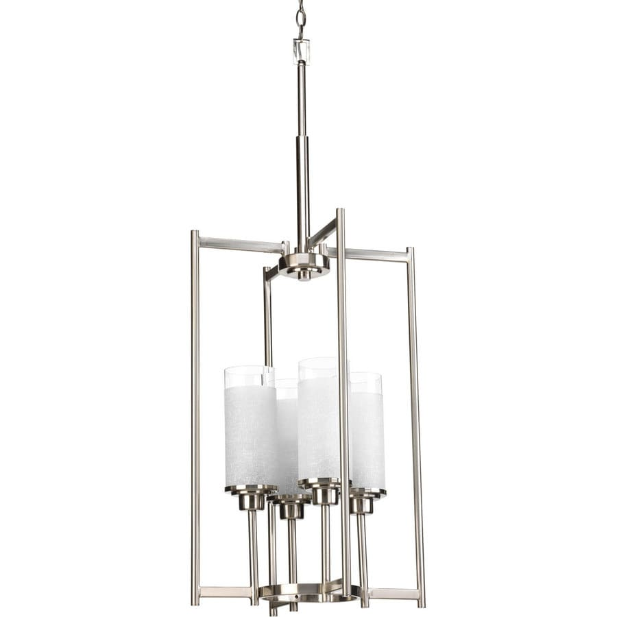 Progress Lighting Alexa 18-in 4-Light Brushed Nickel Shaded Chandelier