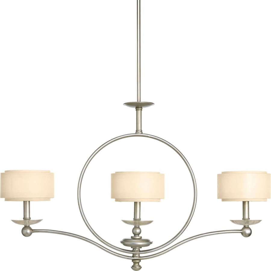 Progress Lighting Ashbury 36-in 3-Light Silver Ridge Tinted Glass Shaded Chandelier