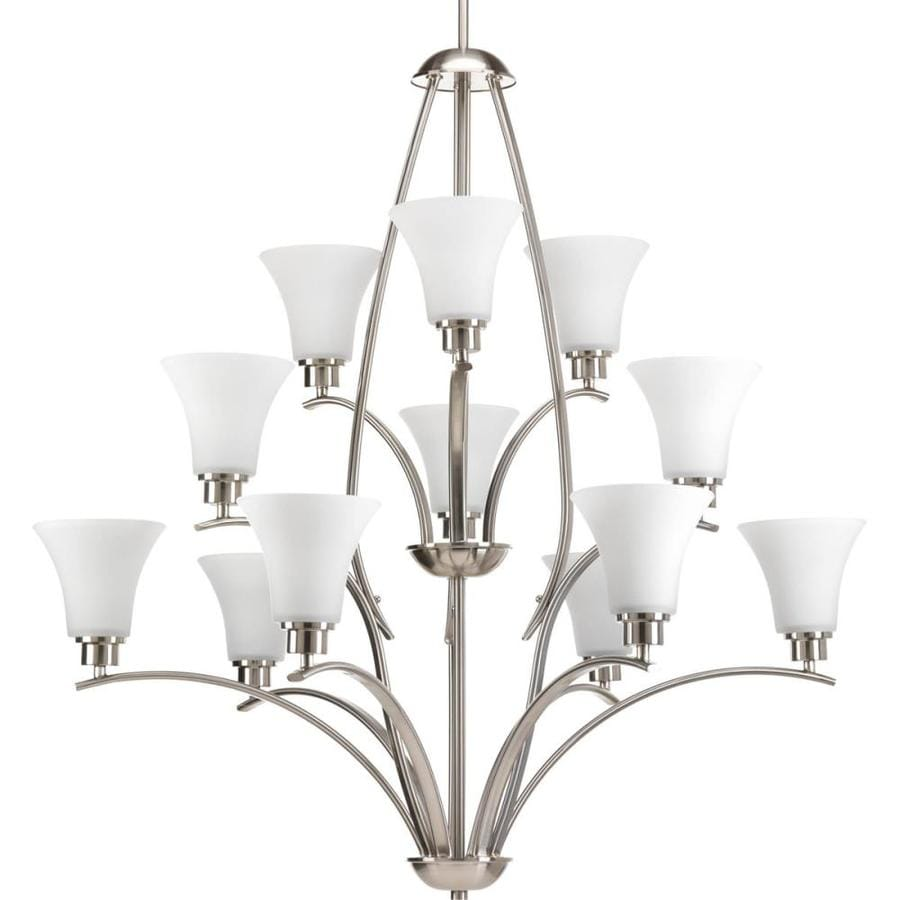 Progress Lighting Joy 38-in 12-Light Brushed Nickel Etched Glass Tiered Chandelier