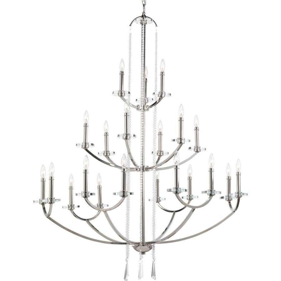 Progress Lighting Nisse 43.88-in 21-Light Polished nickel Clear Glass Tiered Chandelier