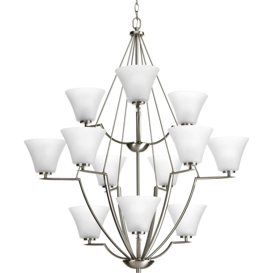Progress Lighting Bravo 38-in 12-Light Brushed nickel Etched Glass Tiered Chandelier