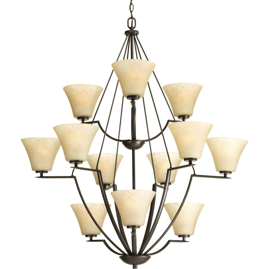 Progress Lighting Bravo 38-in 12-Light Antique Bronze Tinted Glass Tiered Chandelier