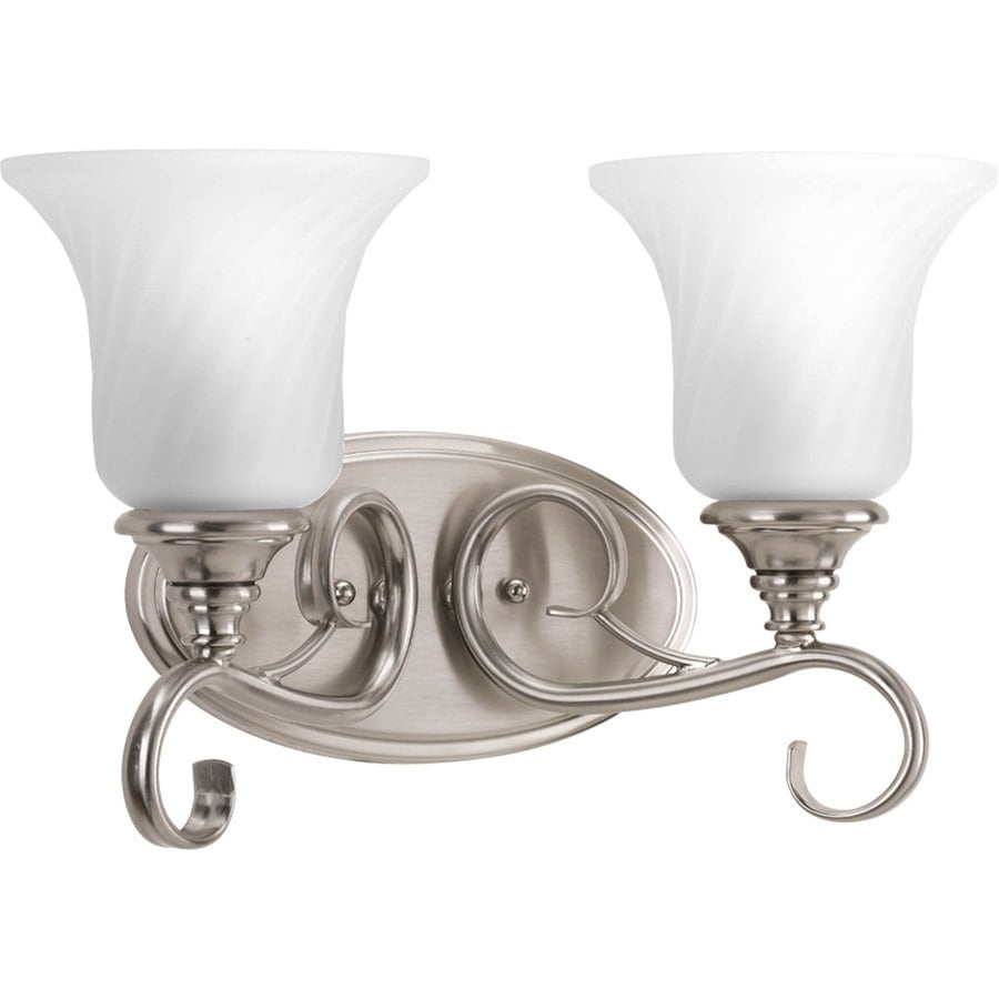 bathroom lighting brushed nickel shop progress lighting kensington 2 light 15 in brushed 16125