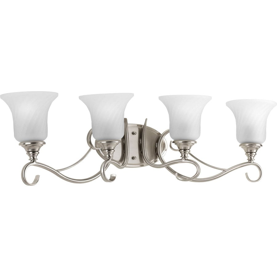 Shop Progress Lighting Kensington 4 Light 9 5 In Brushed Nickel Bell Vanity L