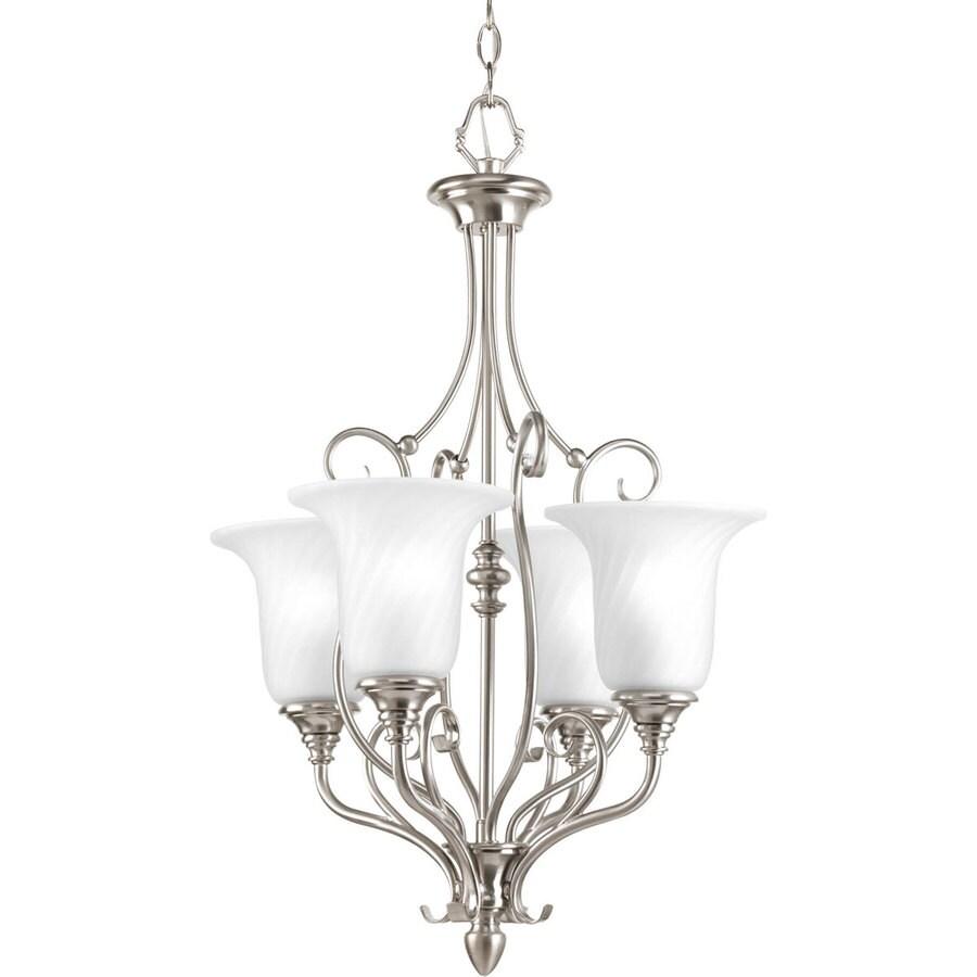 Progress Lighting Kensington 18-in 4-Light Brushed Nickel Etched Glass Shaded Chandelier