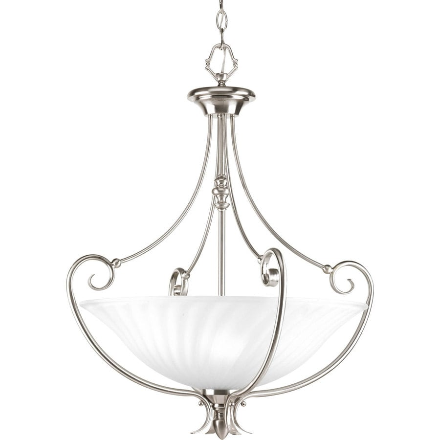 Progress Lighting Kensington 21.875-in 3-Light Brushed Nickel Etched Glass Shaded Chandelier