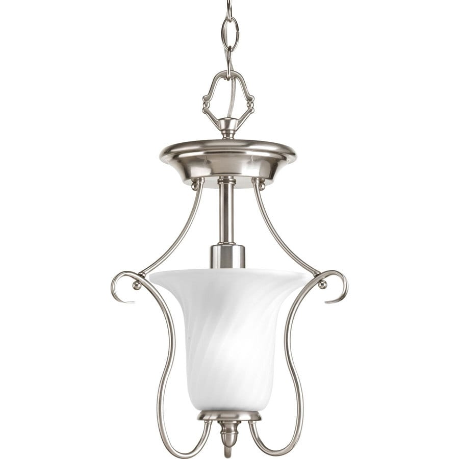 Progress Lighting Kensington 11.37-in W Brushed nickel Frosted Glass Semi-Flush Mount Light