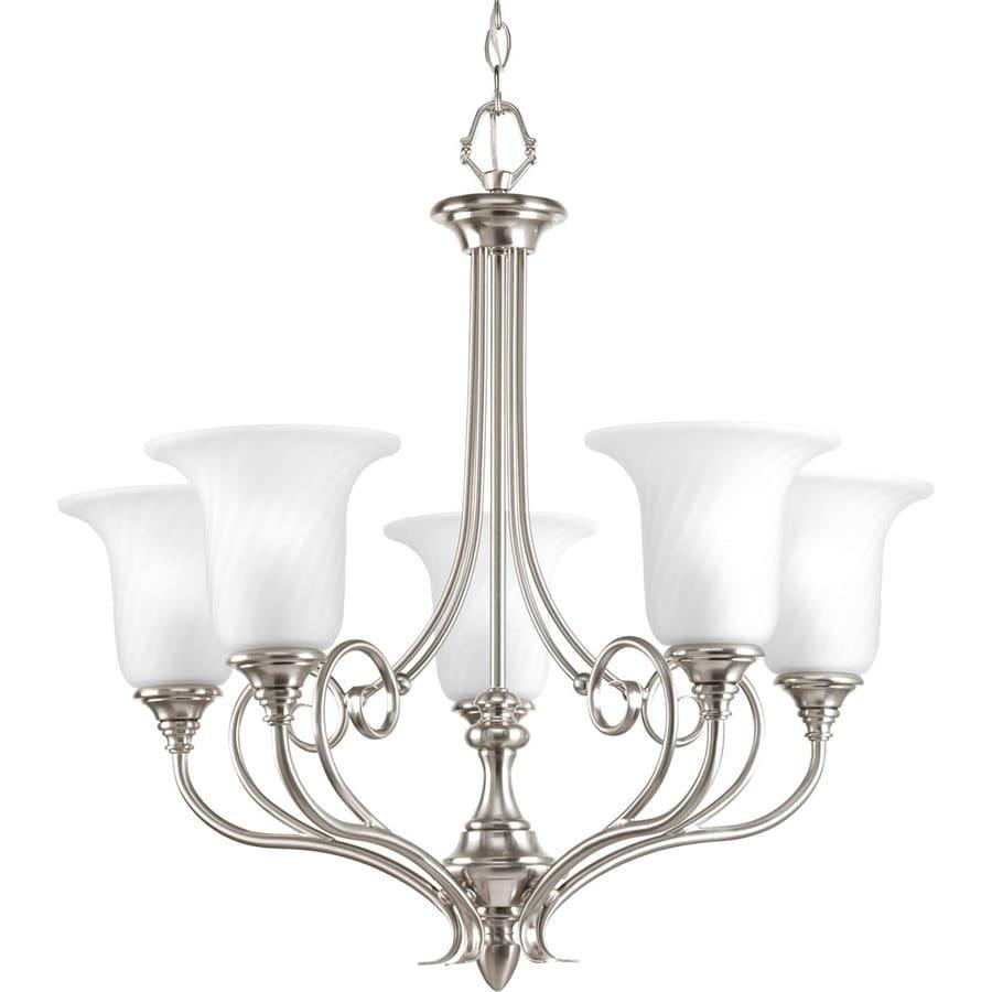 Progress Lighting Kensington 27-in 5-Light Brushed Nickel Etched Glass Shaded Chandelier