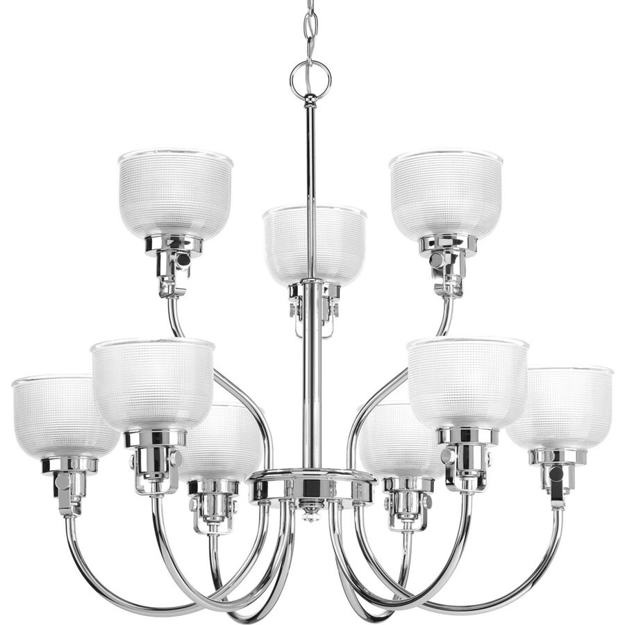 Progress Lighting Archie 30-in 9-Light Chrome Clear Glass Tiered Chandelier