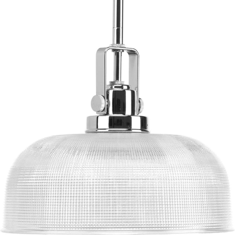 Progress Lighting Archie 10.5-in Chrome Mini Clear Glass Dome Pendant