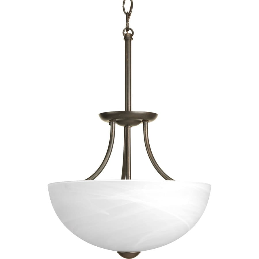 Progress Lighting Random 12.81-in W Antique bronze Frosted Glass Semi-Flush Mount Light ENERGY STAR