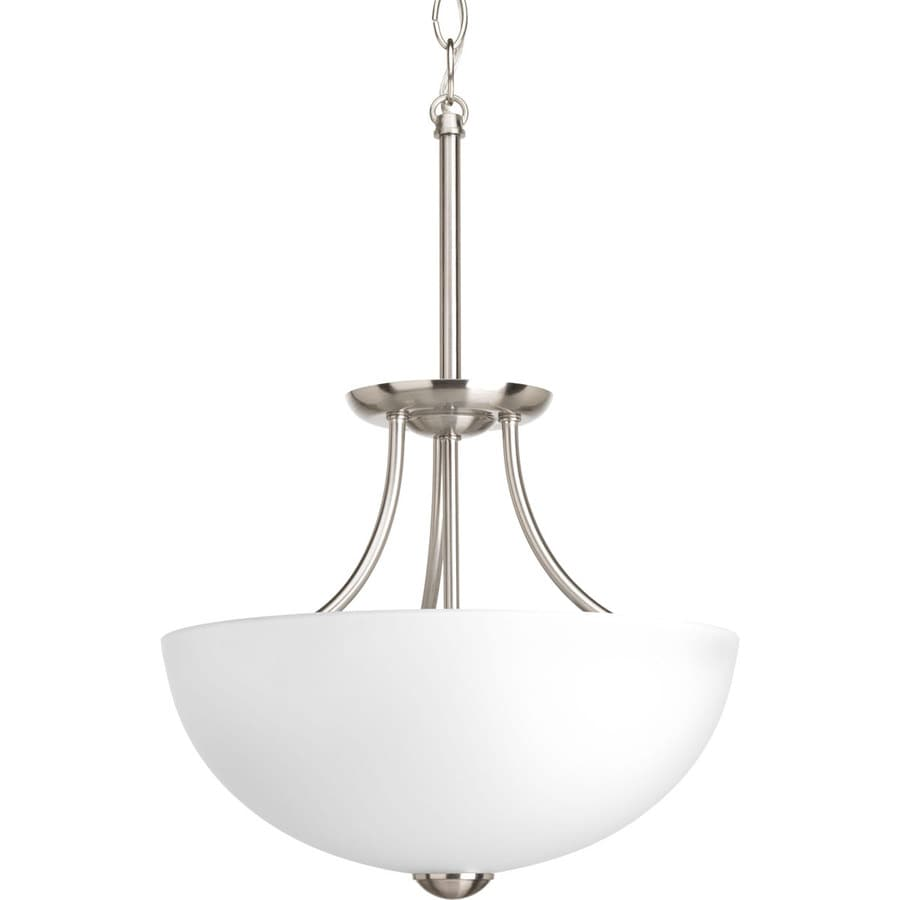 Progress Lighting Random 12.81-in W Brushed Nickel Frosted Glass Semi-Flush Mount Light