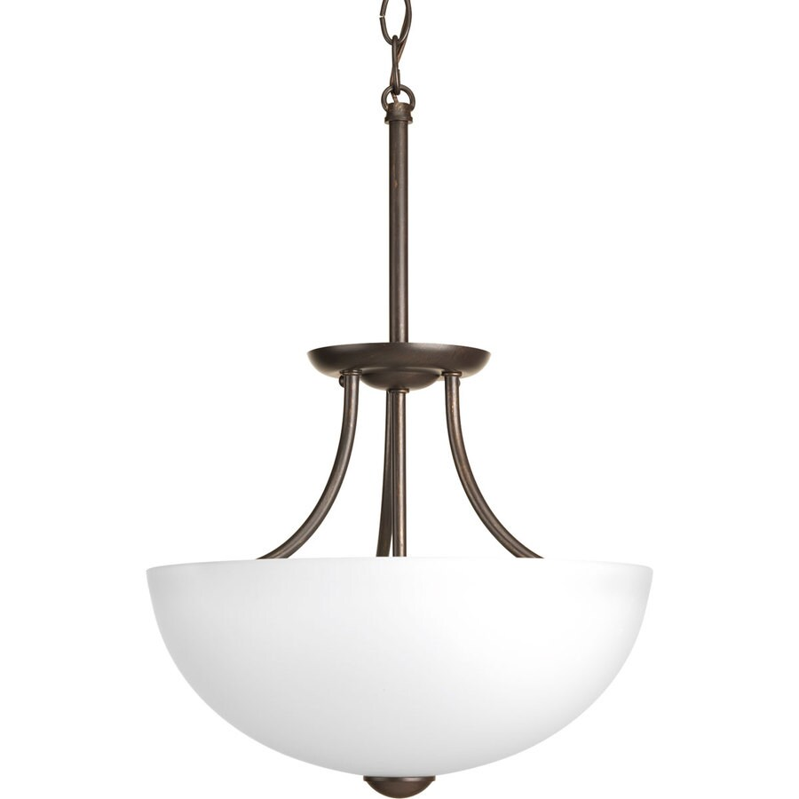 Progress Lighting Random 12.81-in W Antique Bronze Frosted Glass Semi-Flush Mount Light