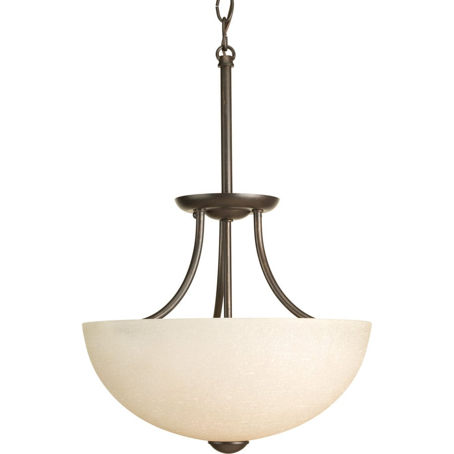Progress Lighting Random 12.81-in W Antique Bronze Tea-Stained Glass Semi-Flush Mount Light