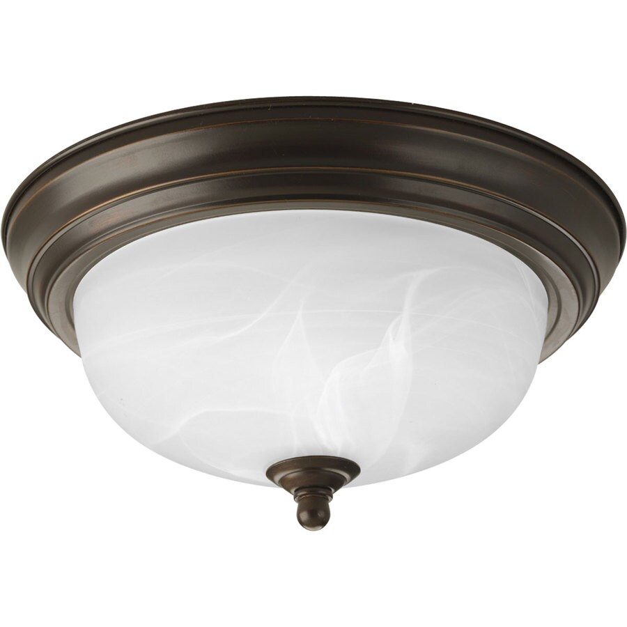 Progress Lighting Melon 11.375-in W Antique Bronze Flush Mount Light