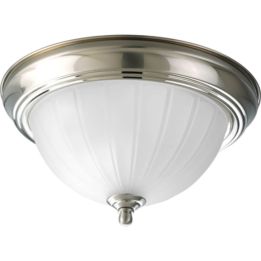 Progress Lighting Melon 11.375-in W Brushed Nickel Standard Flush Mount Light