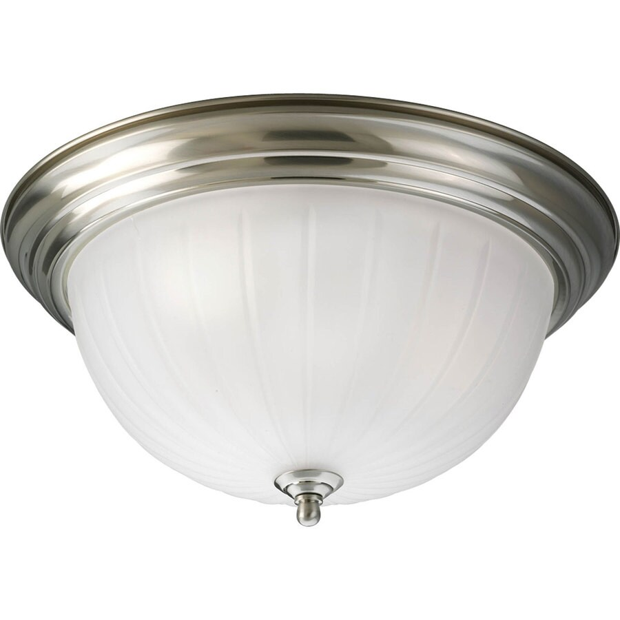 Progress Lighting Melon 15.25-in W Brushed Nickel Standard Flush Mount Light
