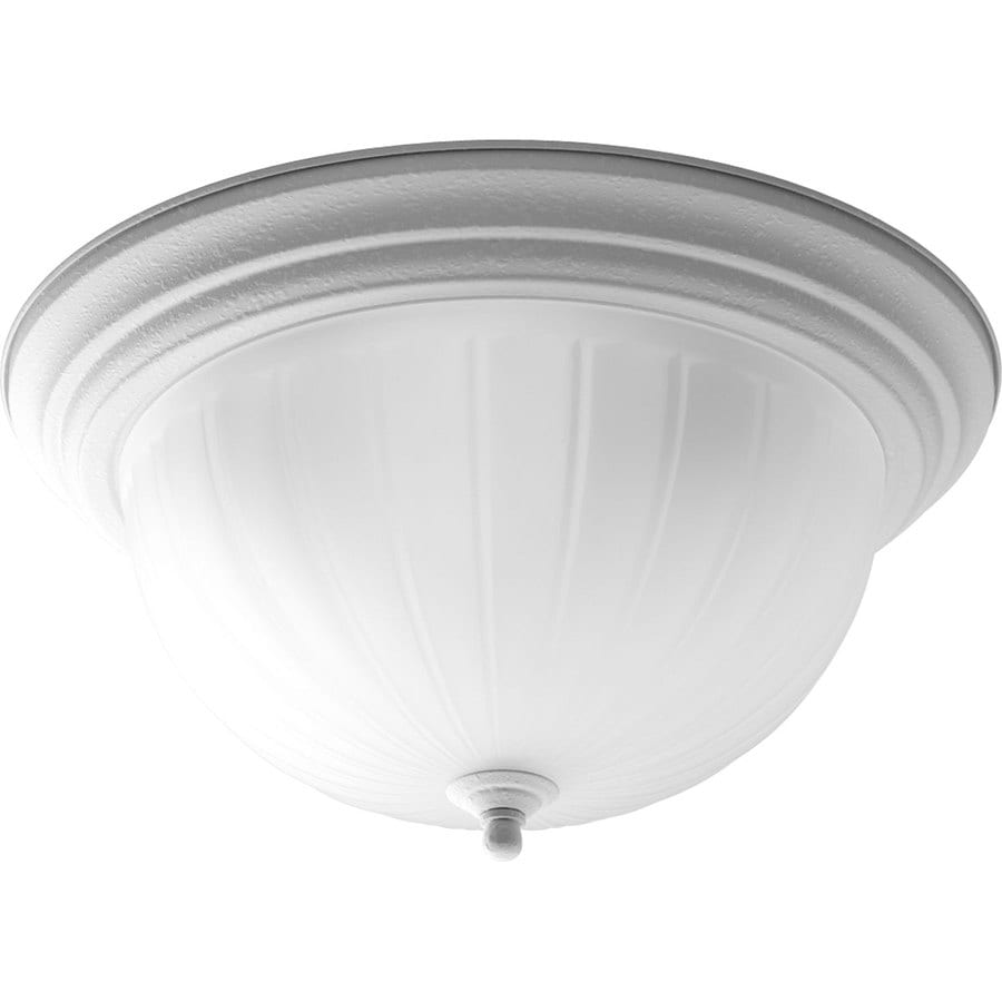 Progress Lighting Melon 15.25-in W White Flush Mount Light