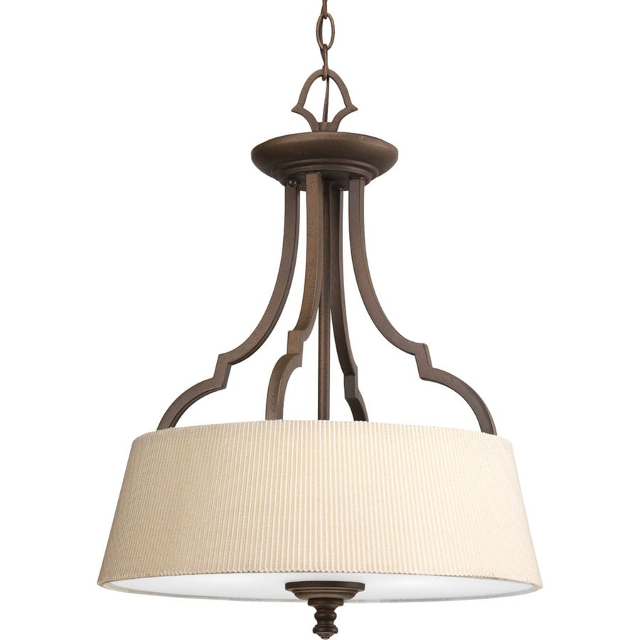Progress Lighting Meeting Street 17-in W Roasted Java Fabric Semi-Flush Mount Light