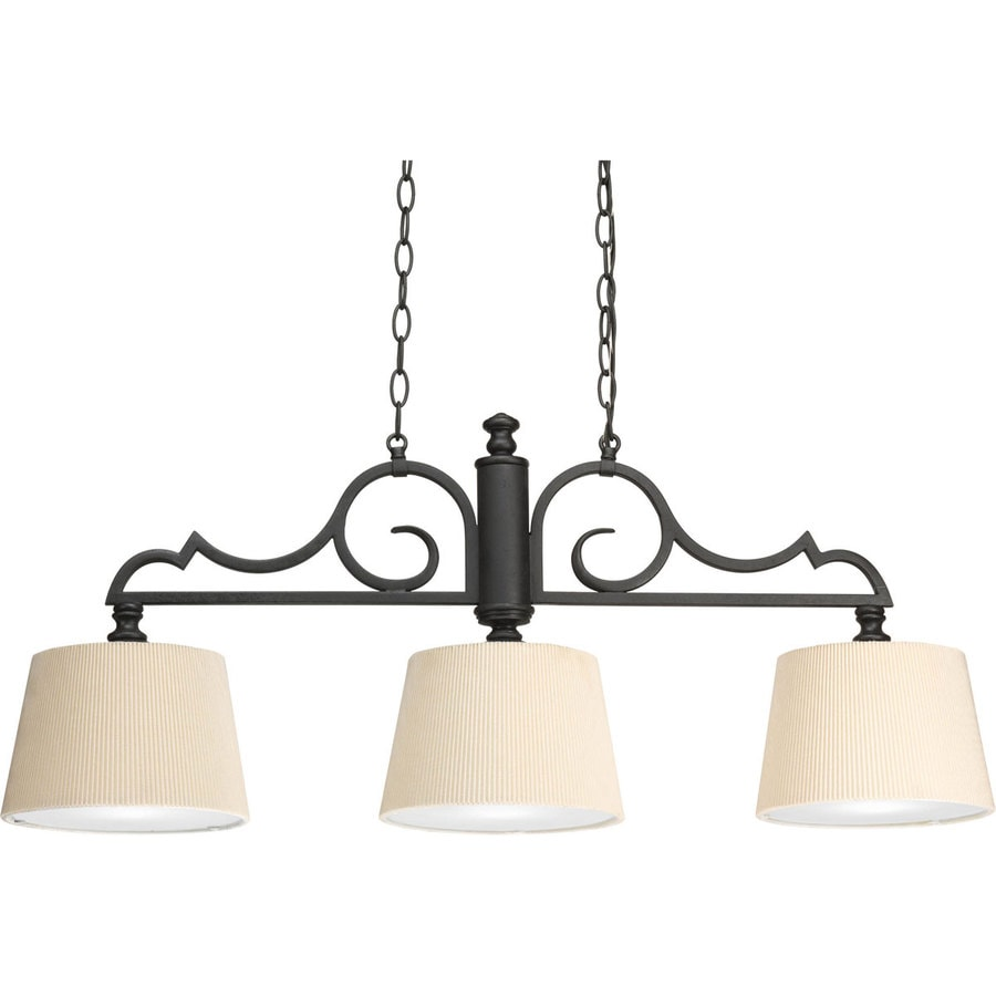Progress Lighting Meeting Street 37.25-in 3-Light Forged Black Shaded Chandelier