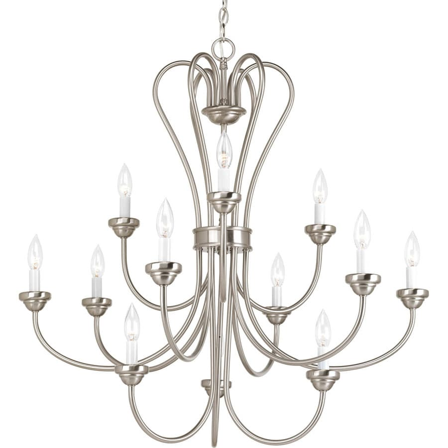 Progress Lighting Heart 35.75-in 12-Light Brushed Nickel Etched Glass Tiered Chandelier