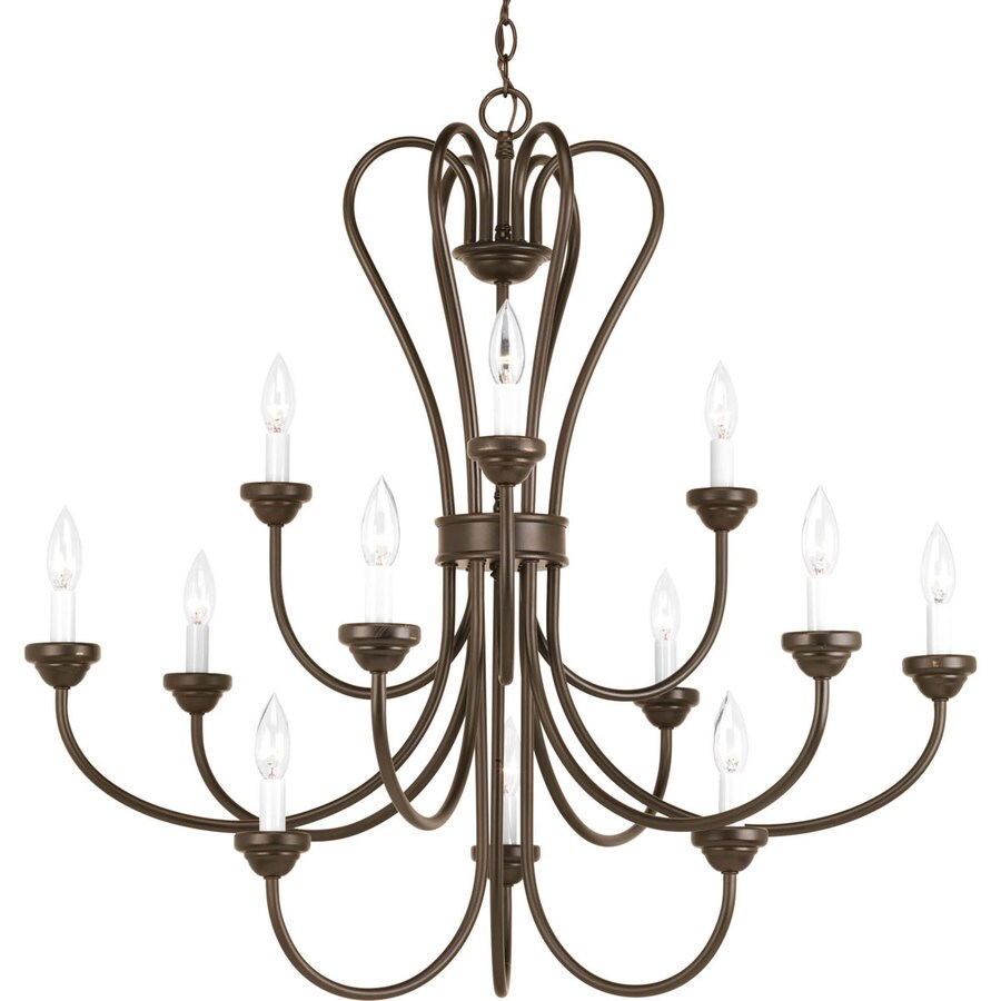 Progress Lighting Heart 35.75-in 12-Light Antique Bronze Etched Glass Tiered Chandelier