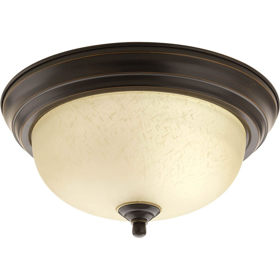 Progress Lighting Melon 11.375-in W Antique Bronze Standard Flush Mount Light