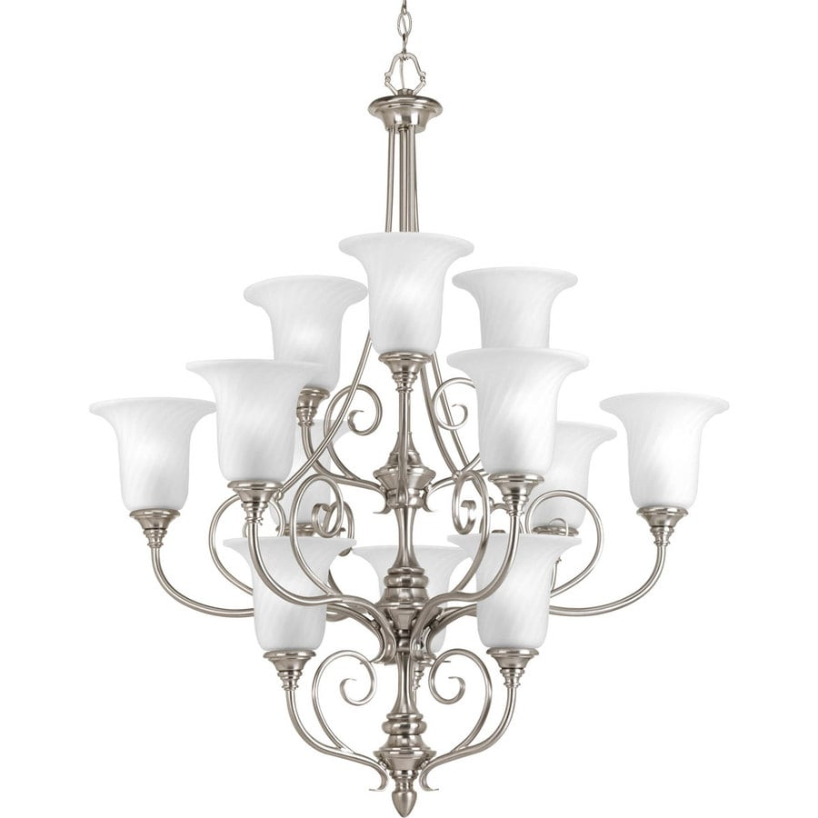 Progress Lighting Kensington 34-in 12-Light Brushed Nickel Etched Glass Tiered Chandelier
