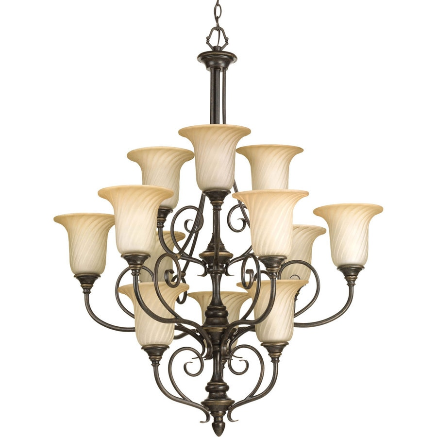 Progress Lighting Kensington 34-in 12-Light Forged Bronze Tinted Glass Tiered Chandelier
