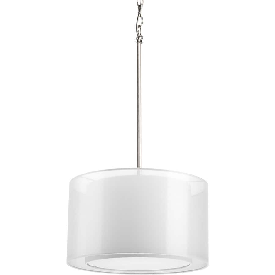 Progress Lighting Cuddle 16-in Brushed Nickel Mini Drum Pendant