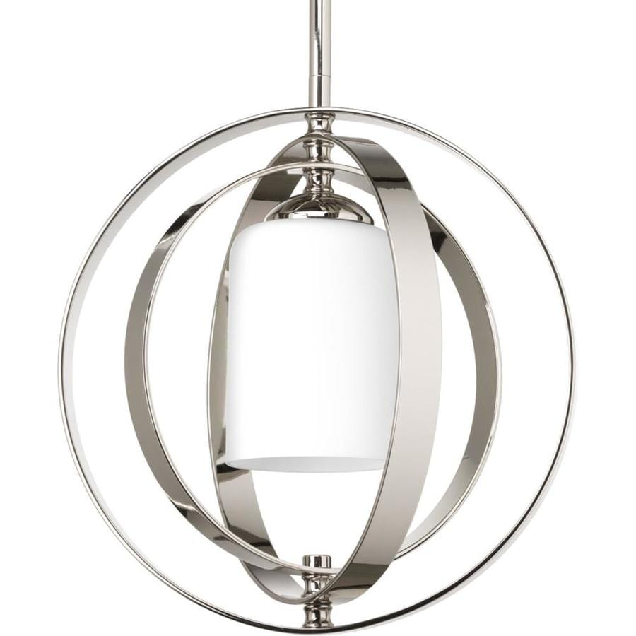 Progress Lighting Equinox 11.37-in Polished Nickel Single Etched Glass Orb Pendant