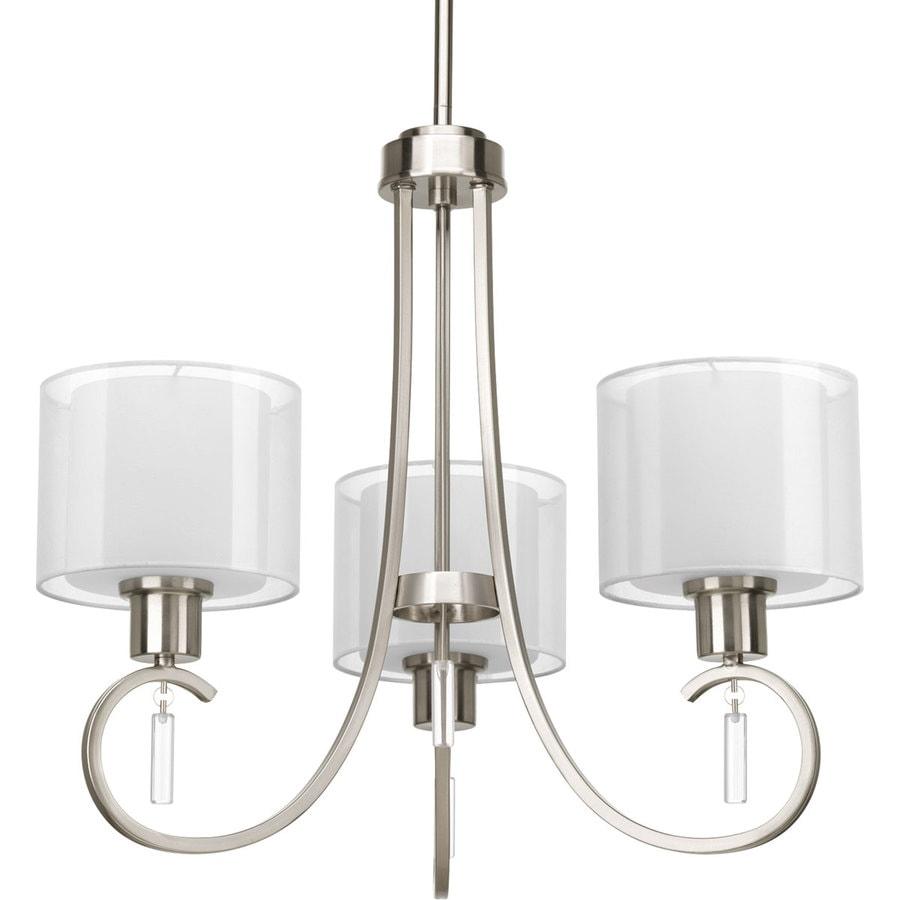 Progress Lighting Invite 22-in 3-Light Brushed Nickel Shaded Chandelier