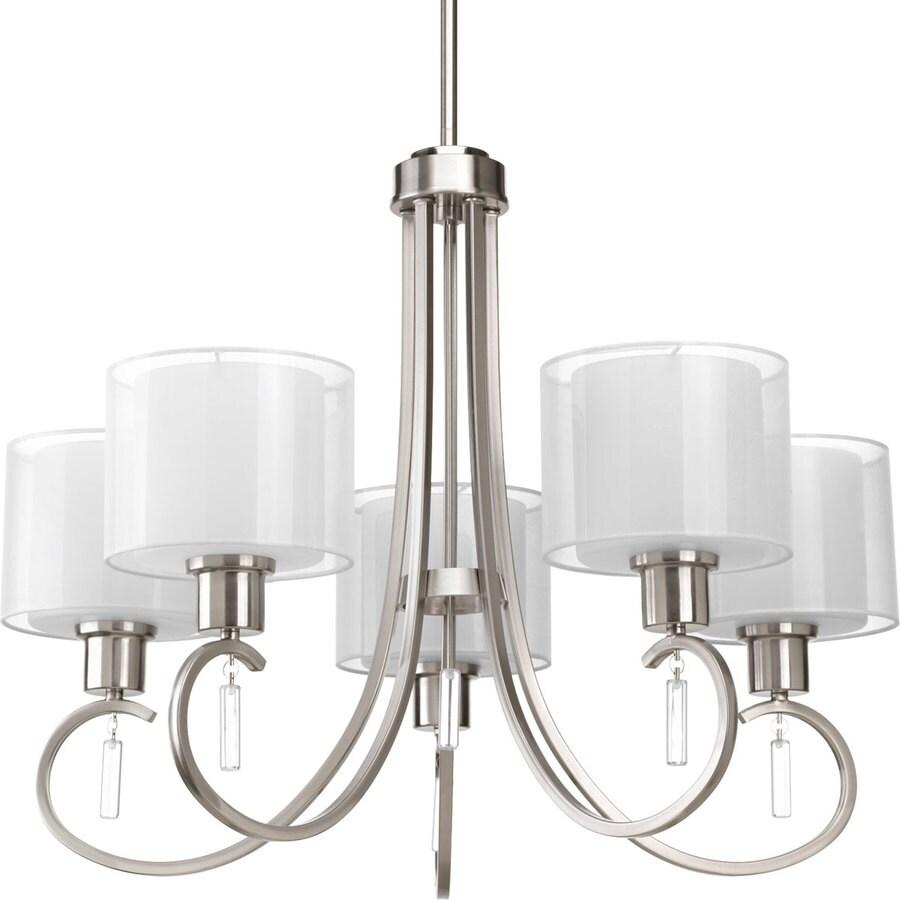 Progress Lighting Invite 25.25-in 5-Light Brushed Nickel Shaded Chandelier