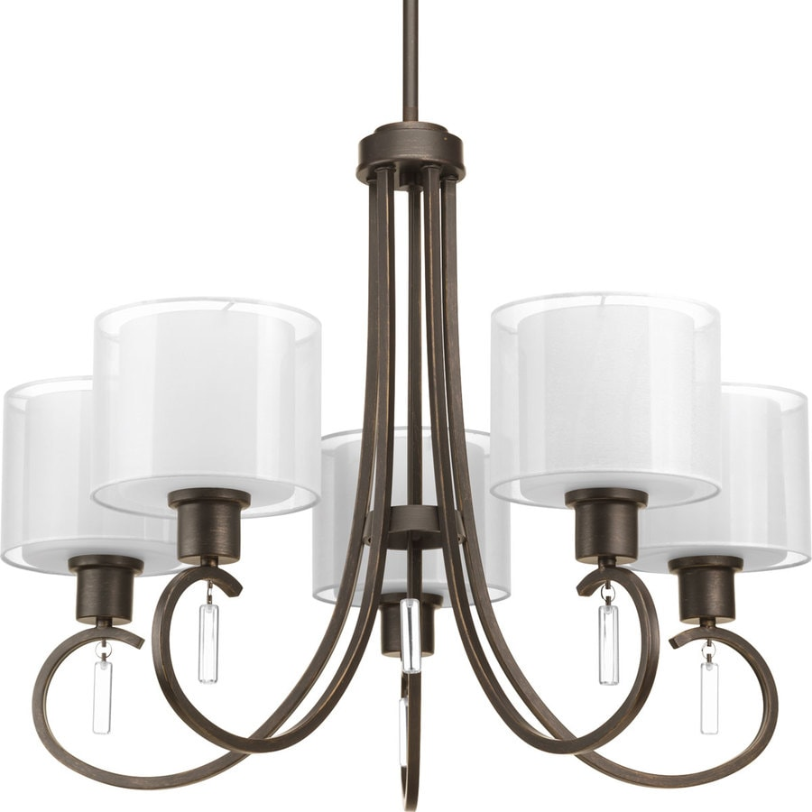 Progress Lighting Invite 25.25-in 5-Light Antique Bronze Shaded Chandelier
