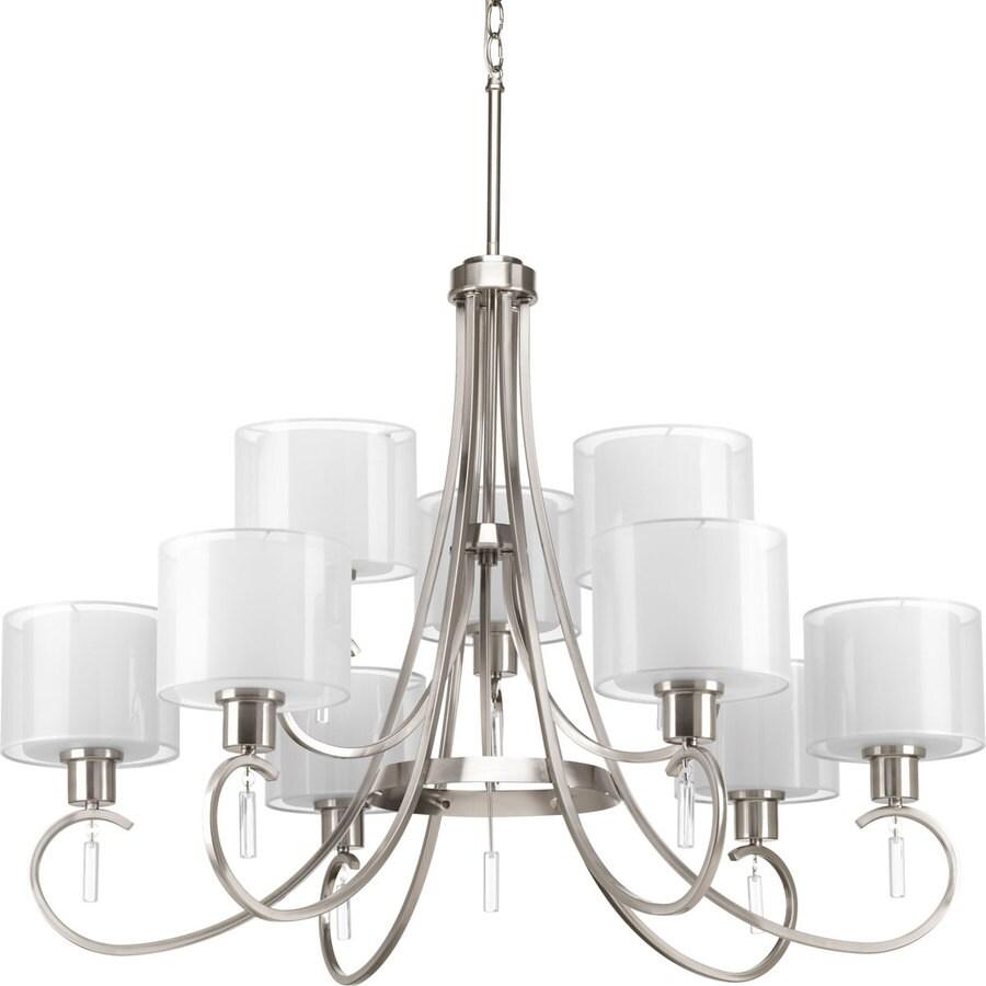 Progress Lighting Invite 35.625-in 9-Light Brushed Nickel Tiered Chandelier