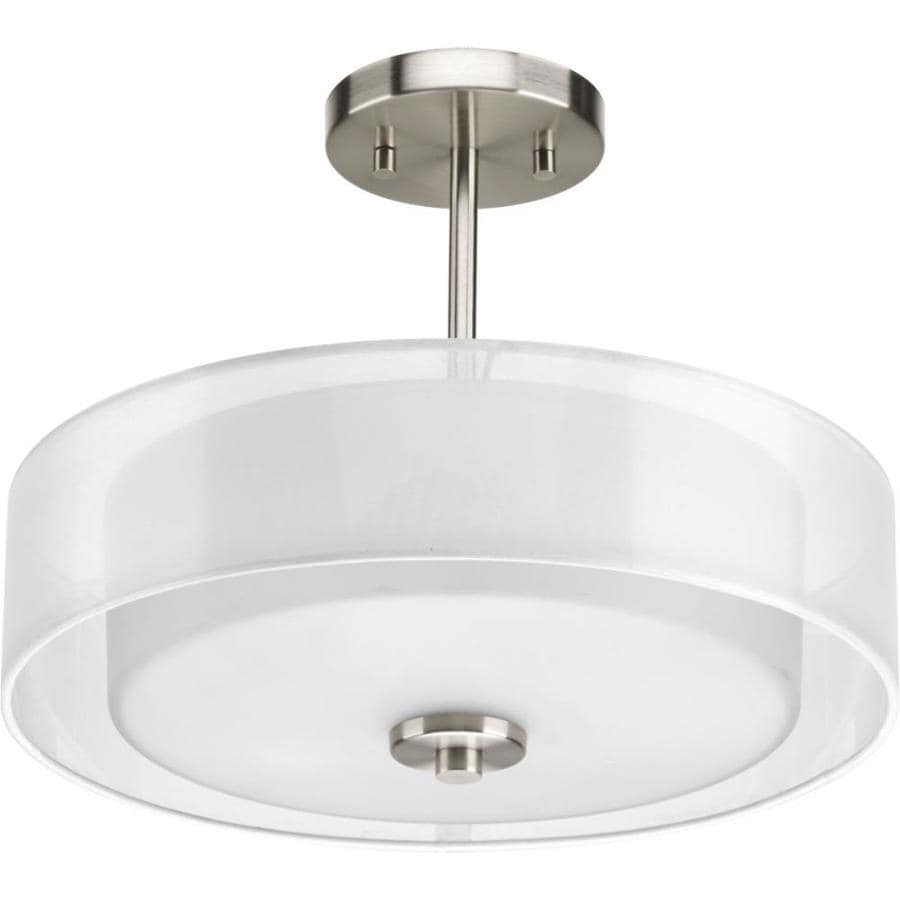 Progress Lighting Invite 15-in W Brushed Nickel Fabric Semi-Flush Mount Light